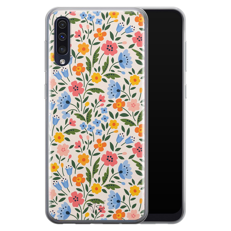 Telefoonhoesje Store Samsung Galaxy A50 siliconen hoesje - Romantische bloemen
