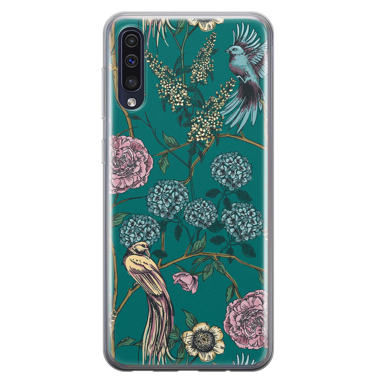 Telefoonhoesje Store Samsung Galaxy A50 siliconen hoesje - Bloomy birds