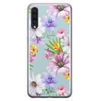 Telefoonhoesje Store Samsung Galaxy A50 siliconen hoesje - Mint bloemen