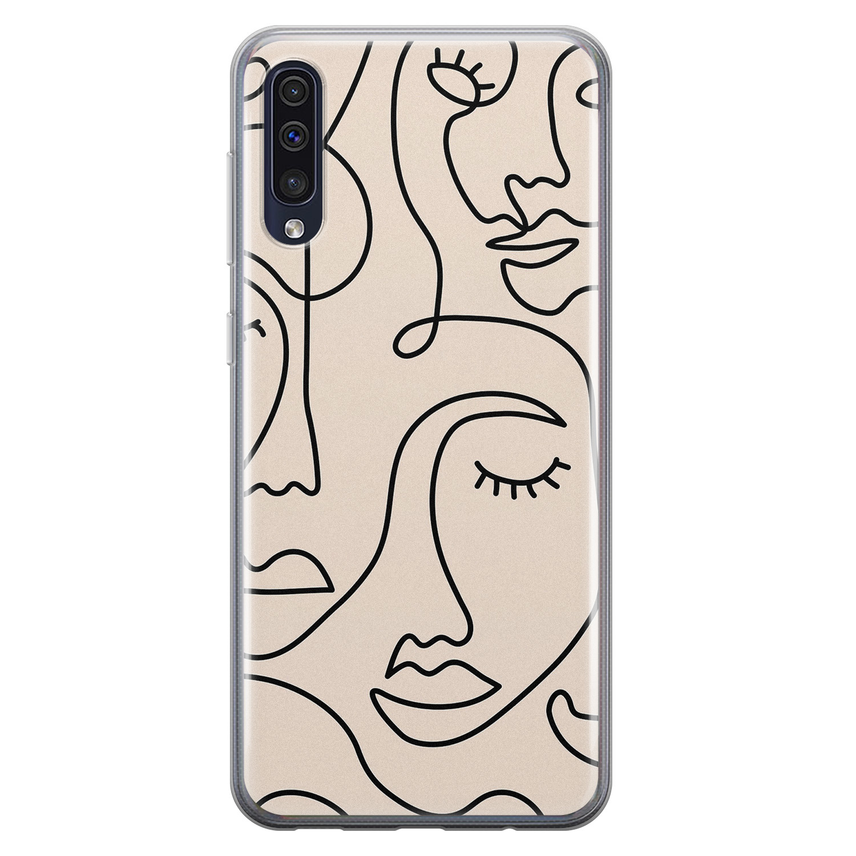 Leuke Telefoonhoesjes Samsung Galaxy A50 siliconen hoesje - Abstract gezicht lijnen
