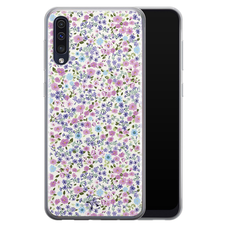 Telefoonhoesje Store Samsung Galaxy A50 siliconen hoesje - Purple Garden