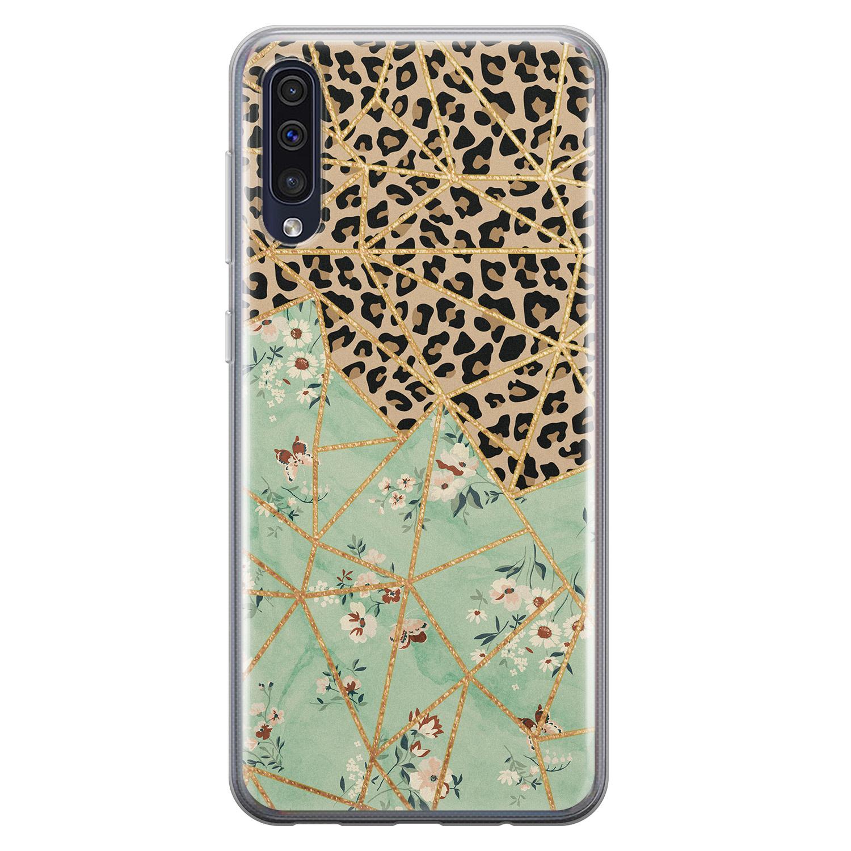 Leuke Telefoonhoesjes Samsung Galaxy A50 siliconen hoesje - Luipaard flower print