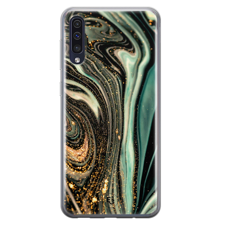 ELLECHIQ Samsung Galaxy A50 siliconen hoesje - Marble Khaki Swirl