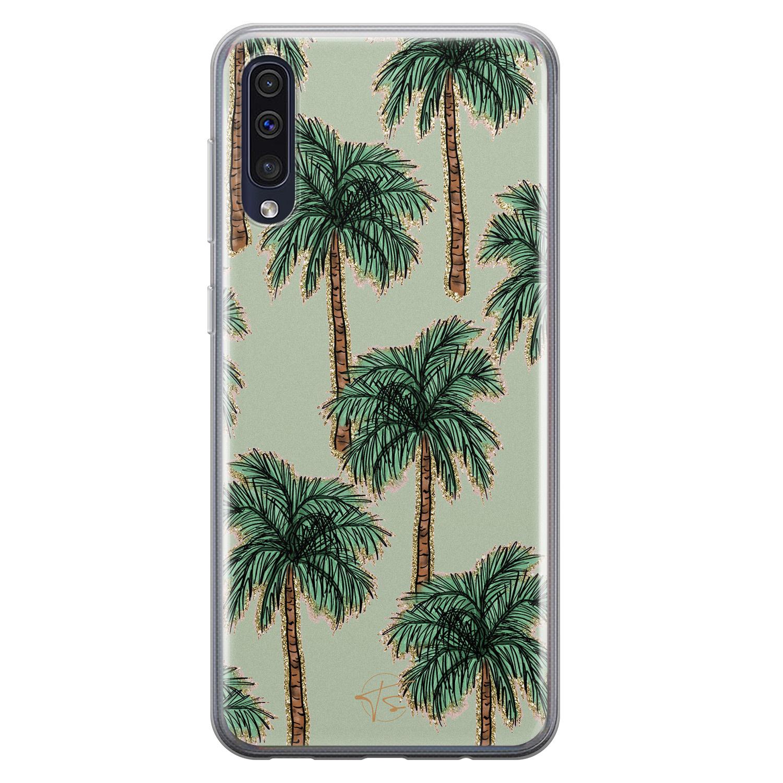 Telefoonhoesje Store Samsung Galaxy A50 siliconen hoesje - Palmbomen