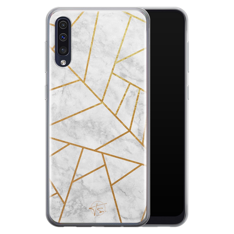 Telefoonhoesje Store Samsung Galaxy A50 siliconen hoesje - Geometrisch marmer