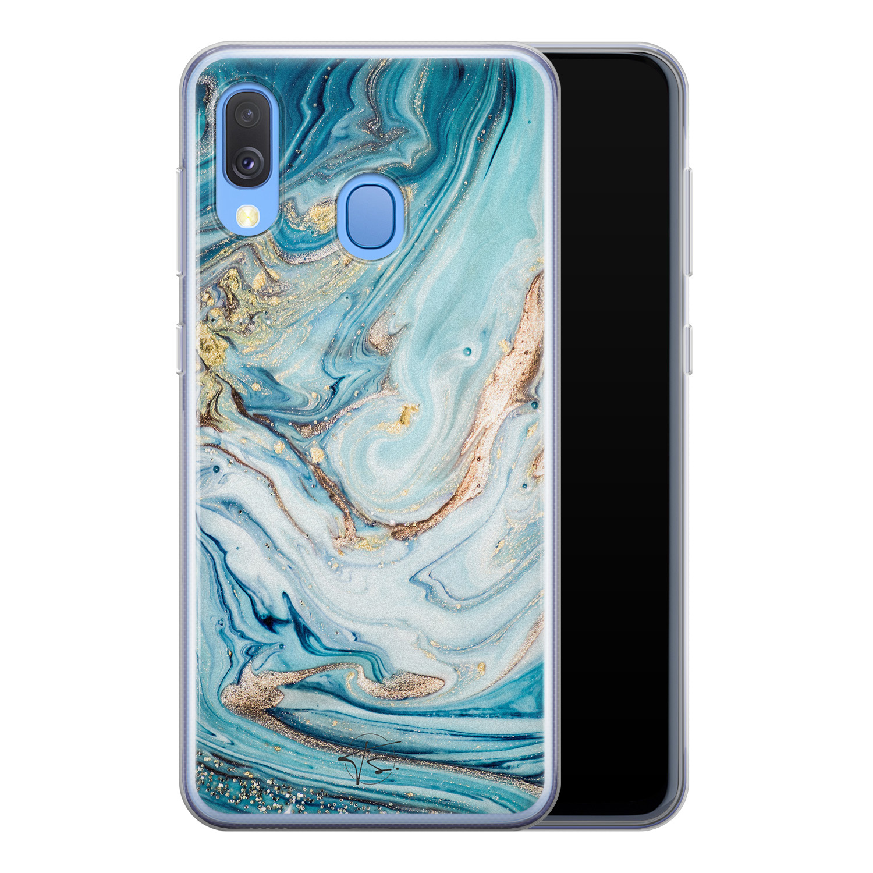 Telefoonhoesje Store Samsung Galaxy A40 siliconen hoesje - Marmer blauw goud