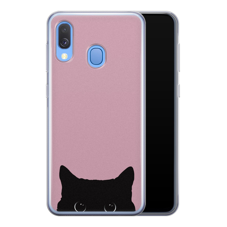 Telefoonhoesje Store Samsung Galaxy A40 siliconen hoesje - Zwarte kat