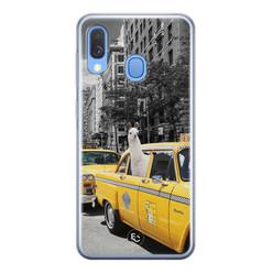 ELLECHIQ Samsung Galaxy A40 siliconen hoesje - Lama in taxi