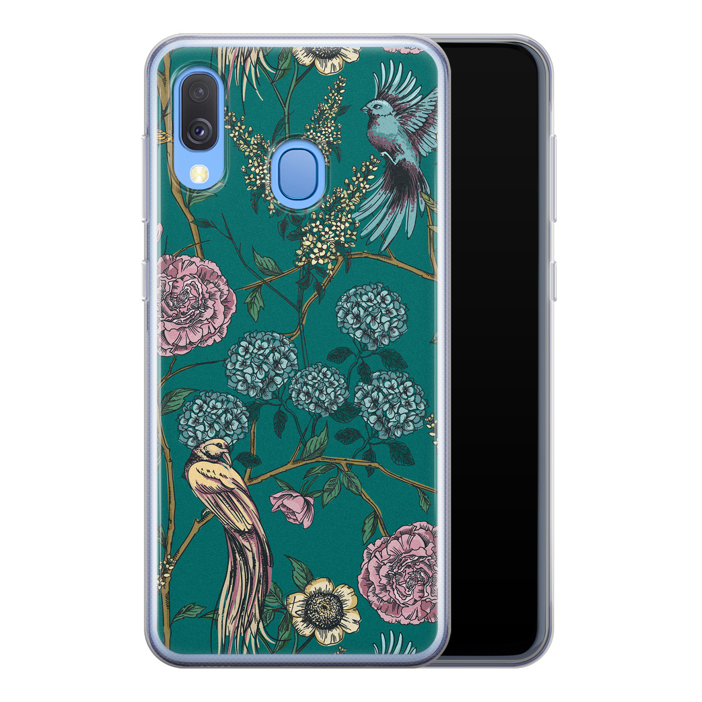 Telefoonhoesje Store Samsung Galaxy A40 siliconen hoesje - Bloomy birds