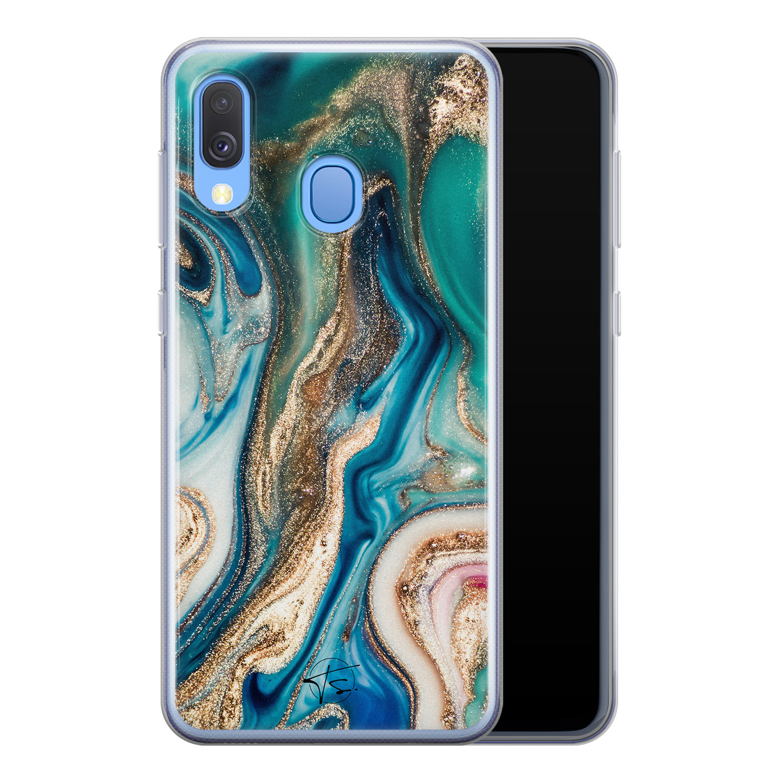 Telefoonhoesje Store Samsung Galaxy A40 siliconen hoesje - Magic marble