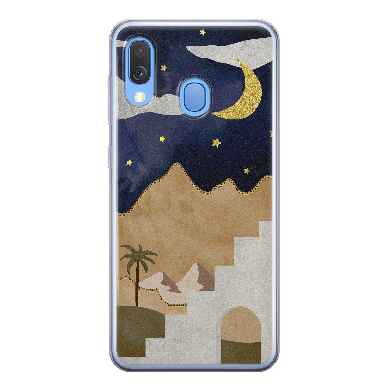 Leuke Telefoonhoesjes Samsung Galaxy A40 siliconen hoesje - Desert night