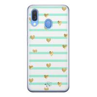Telefoonhoesje Store Samsung Galaxy A40 siliconen hoesje - Mint hartjes