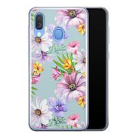 Telefoonhoesje Store Samsung Galaxy A40 siliconen hoesje - Mint bloemen