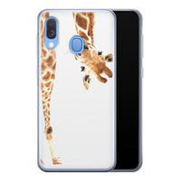 Leuke Telefoonhoesjes Samsung Galaxy A40 siliconen hoesje - Giraffe peekaboo