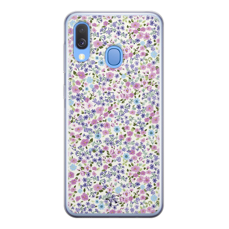 Telefoonhoesje Store Samsung Galaxy A40 siliconen hoesje - Purple Garden