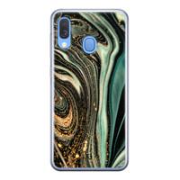 ELLECHIQ Samsung Galaxy A40 siliconen hoesje - Marble Khaki Swirl