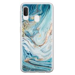 Telefoonhoesje Store Samsung Galaxy A20e siliconen hoesje - Marmer blauw goud