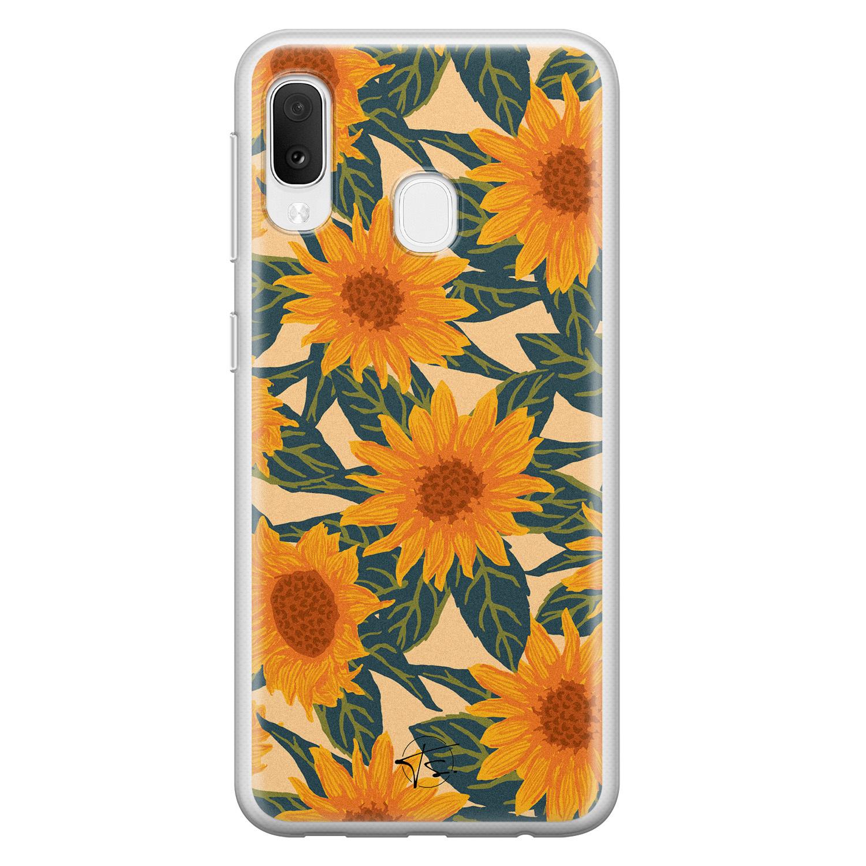 Telefoonhoesje Store Samsung Galaxy A20e siliconen hoesje - Zonnebloemen