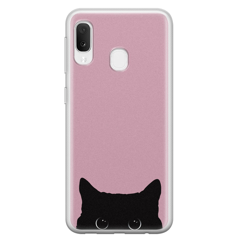 Telefoonhoesje Store Samsung Galaxy A20e siliconen hoesje - Zwarte kat
