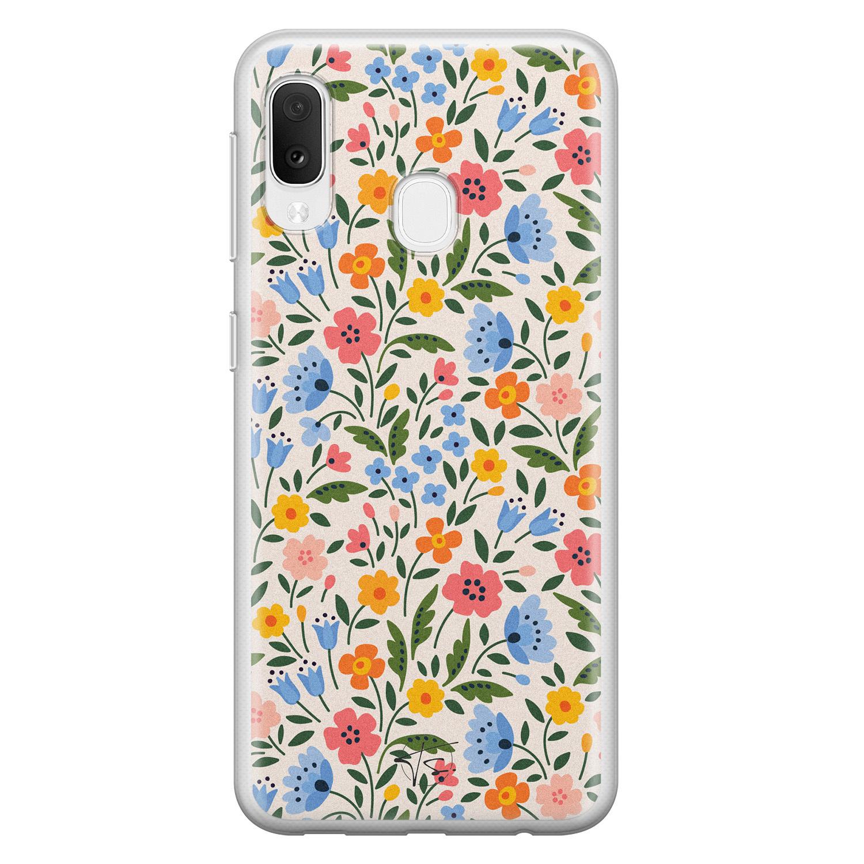 Telefoonhoesje Store Samsung Galaxy A20e siliconen hoesje - Romantische bloemen