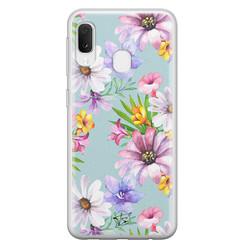 Telefoonhoesje Store Samsung Galaxy A20e siliconen hoesje - Mint bloemen