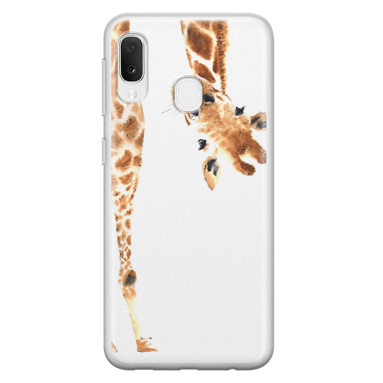 Leuke Telefoonhoesjes Samsung Galaxy A20e siliconen hoesje - Giraffe peekaboo