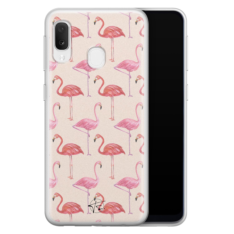 Telefoonhoesje Store Samsung Galaxy A20e siliconen hoesje - Flamingo