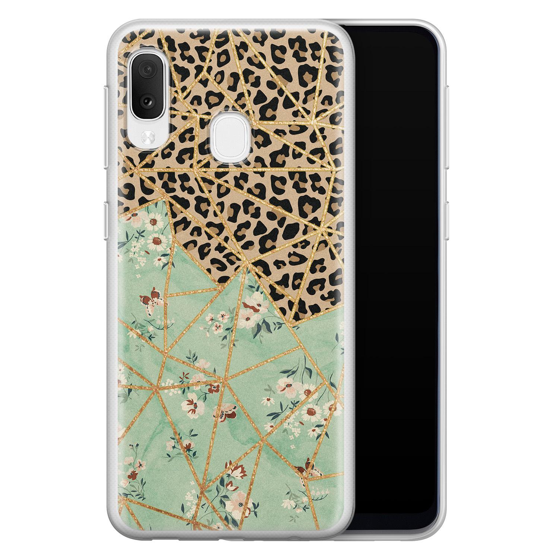 Leuke Telefoonhoesjes Samsung Galaxy A20e siliconen hoesje - Luipaard flower print
