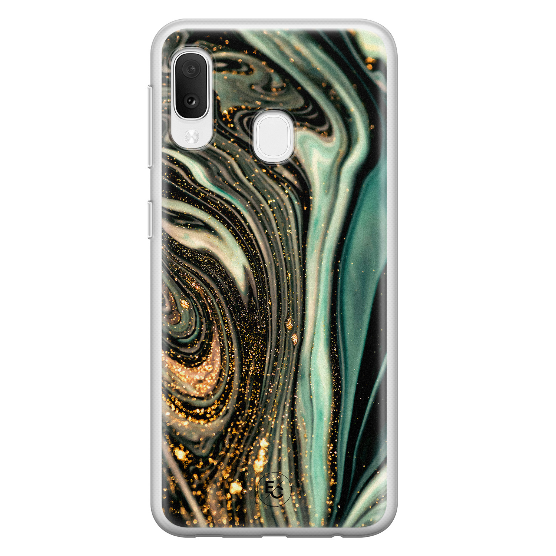 ELLECHIQ Samsung Galaxy A20e siliconen hoesje - Marble Khaki Swirl