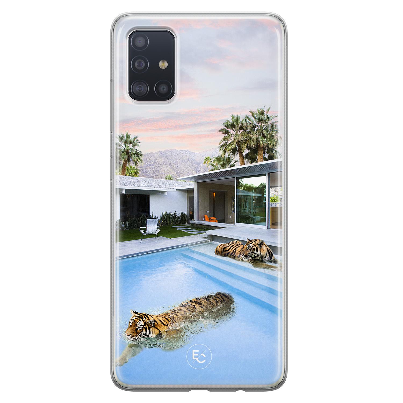 ELLECHIQ Samsung Galaxy A51 siliconen hoesje - Tiger pool