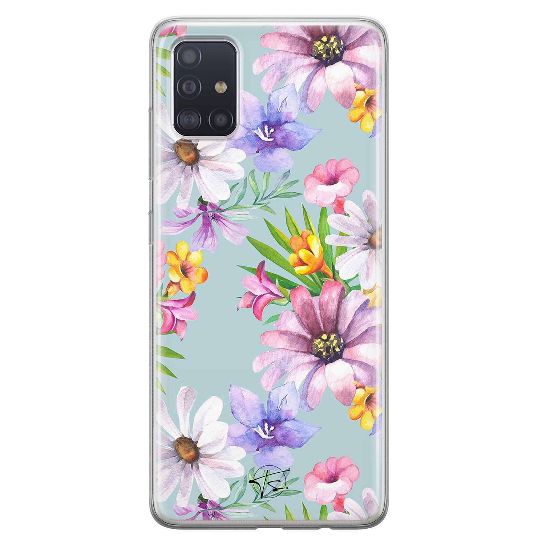 Telefoonhoesje Store Samsung Galaxy A51 siliconen hoesje - Mint bloemen
