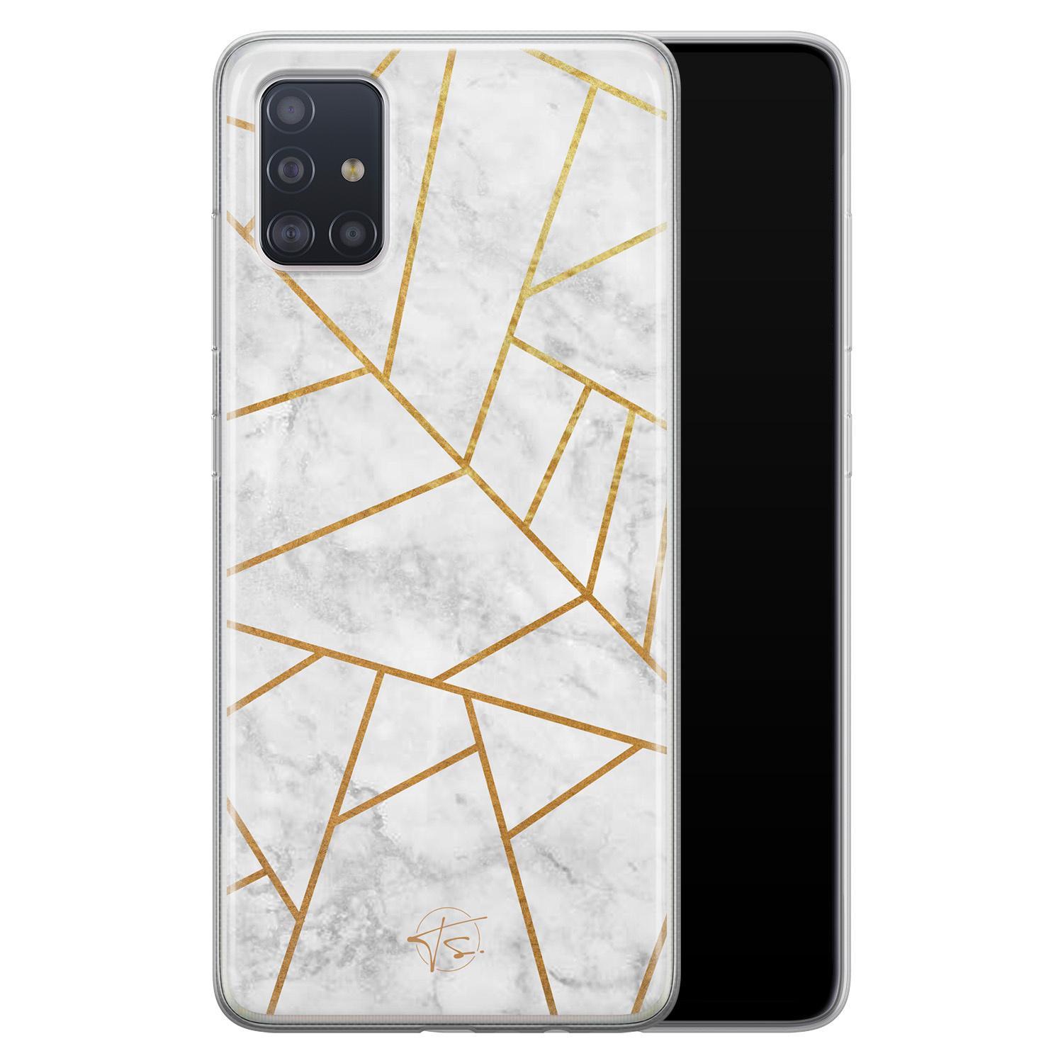 Telefoonhoesje Store Samsung Galaxy A51 siliconen hoesje - Geometrisch marmer