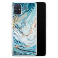 Telefoonhoesje Store Samsung Galaxy A71 siliconen hoesje - Marmer blauw goud