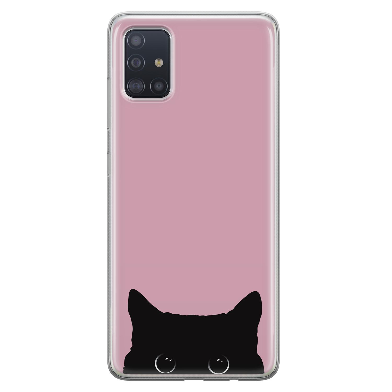 Telefoonhoesje Store Samsung Galaxy A71 siliconen hoesje - Zwarte kat