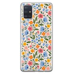 Telefoonhoesje Store Samsung Galaxy A71 siliconen hoesje - Romantische bloemen