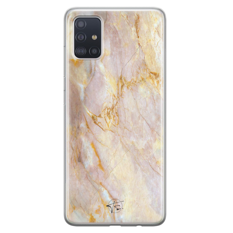ELLECHIQ Samsung Galaxy A71 siliconen hoesje - Stay Golden Marble