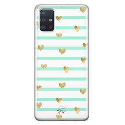 Telefoonhoesje Store Samsung Galaxy A71 siliconen hoesje - Mint hartjes