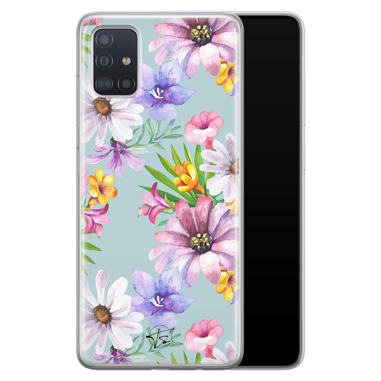 Telefoonhoesje Store Samsung Galaxy A71 siliconen hoesje - Mint bloemen