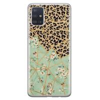Leuke Telefoonhoesjes Samsung Galaxy A71 siliconen hoesje - Luipaard flower print