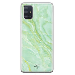 Telefoonhoesje Store Samsung Galaxy A71 siliconen hoesje - Marmer Limegroen