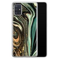 ELLECHIQ Samsung Galaxy A71 siliconen hoesje - Marble Khaki Swirl