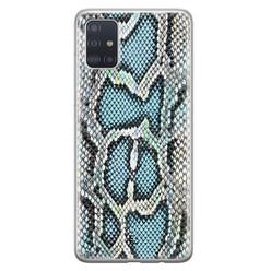 ELLECHIQ Samsung Galaxy A71 siliconen hoesje - Baby Snake blue