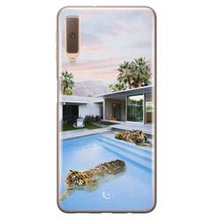 ELLECHIQ Samsung Galaxy A7 2018 siliconen hoesje - Tiger pool