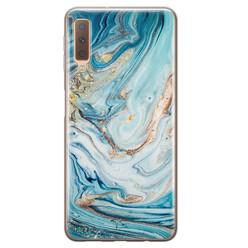 Telefoonhoesje Store Samsung Galaxy A7 2018 siliconen hoesje - Marmer blauw goud
