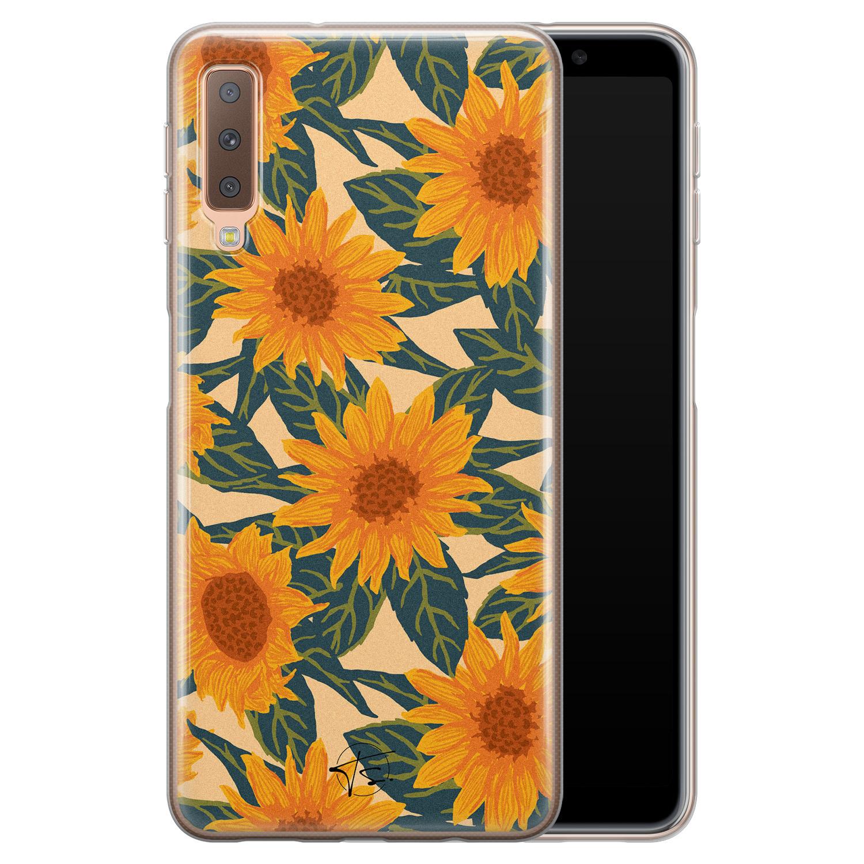 Telefoonhoesje Store Samsung Galaxy A7 2018 siliconen hoesje - Zonnebloemen
