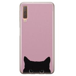 Telefoonhoesje Store Samsung Galaxy A7 2018 siliconen hoesje - Zwarte kat