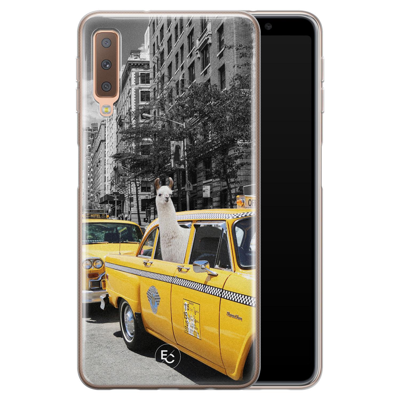 ELLECHIQ Samsung Galaxy A7 2018 siliconen hoesje - Lama in taxi