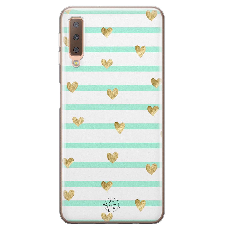Telefoonhoesje Store Samsung Galaxy A7 2018 siliconen hoesje - Mint hartjes