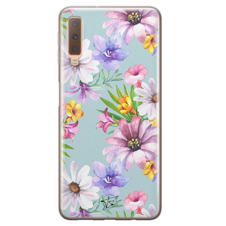 Telefoonhoesje Store Samsung Galaxy A7 2018 siliconen hoesje - Mint bloemen