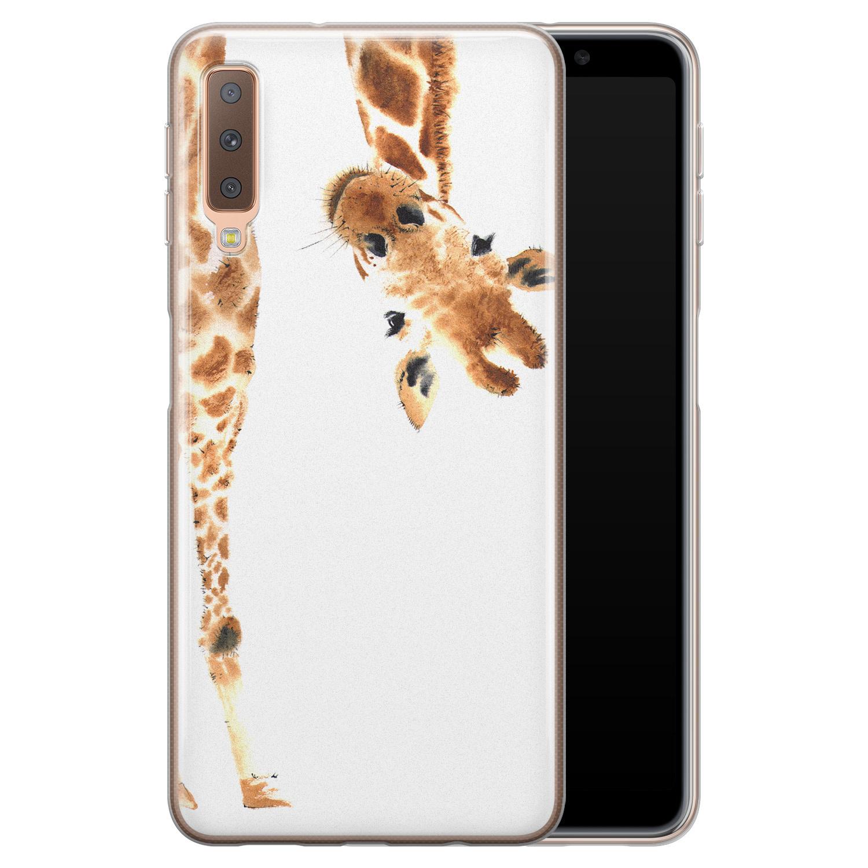 Leuke Telefoonhoesjes Samsung Galaxy A7 2018 siliconen hoesje - Giraffe peekaboo